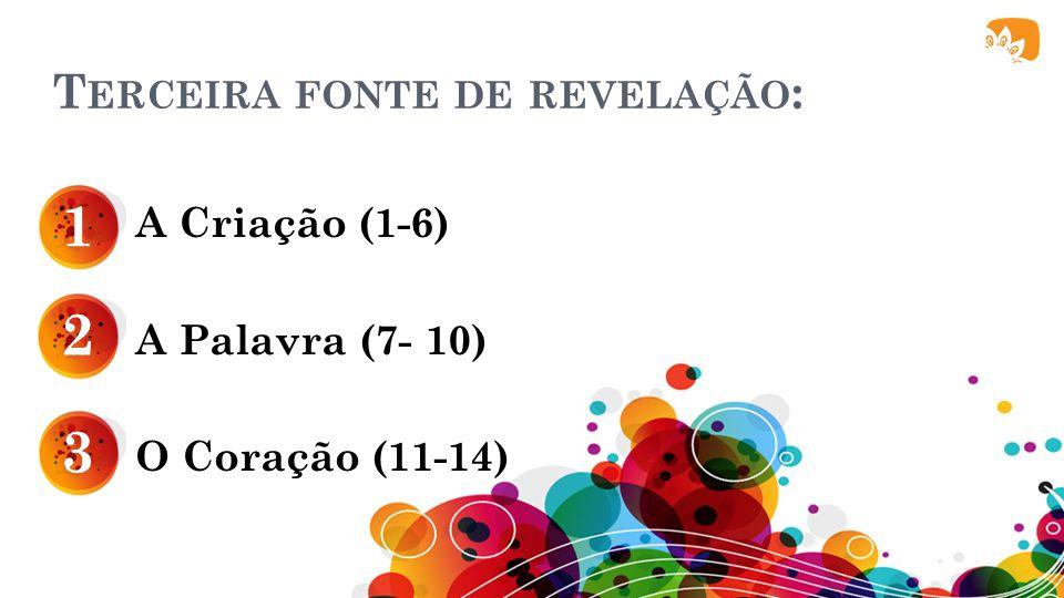 T ERCEIRA FONTE DE REVELAÇÃO : A Criação (1-6) A Palavra (7- 10) O Coração (11-14) 1 2 3