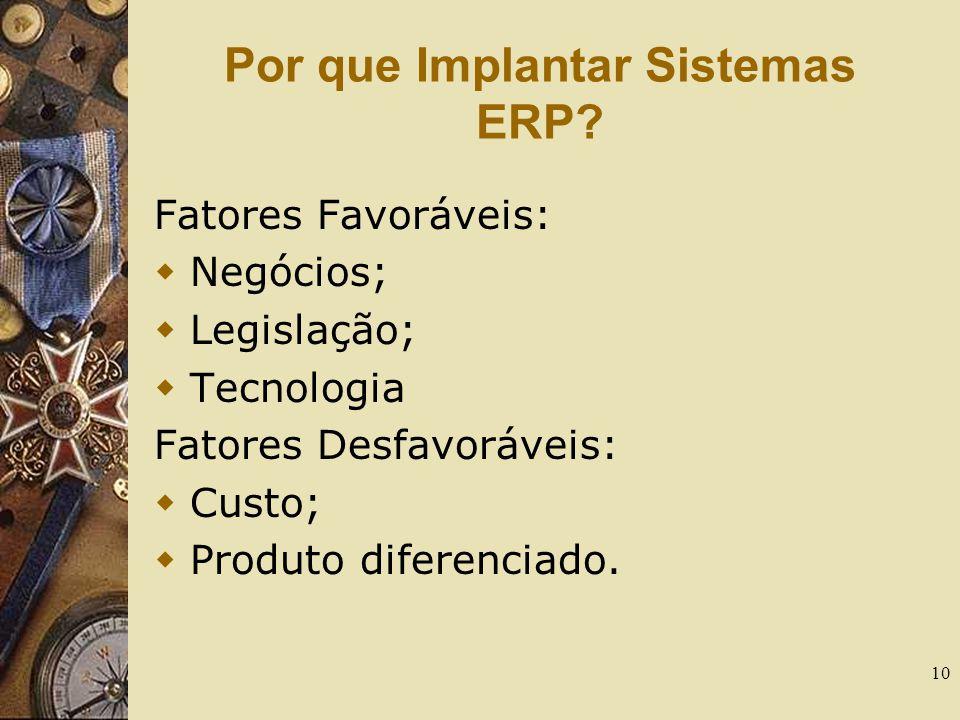 10 Por que Implantar Sistemas ERP? Fatores Favoráveis:  Negócios;  Legislação;  Tecnologia Fatores Desfavoráveis:  Custo;  Produto diferenciado.