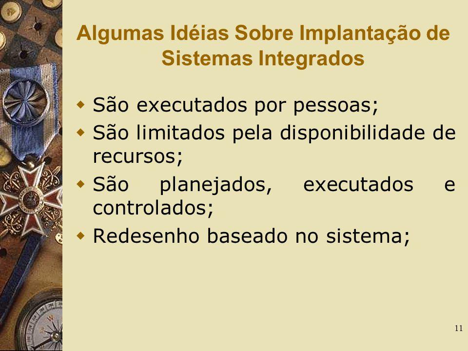 11 Algumas Idéias Sobre Implantação de Sistemas Integrados  São executados por pessoas;  São limitados pela disponibilidade de recursos;  São plane