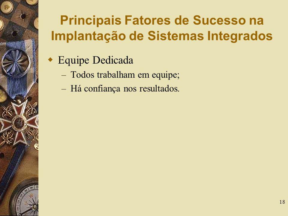 18 Principais Fatores de Sucesso na Implantação de Sistemas Integrados  Equipe Dedicada – Todos trabalham em equipe; – Há confiança nos resultados.