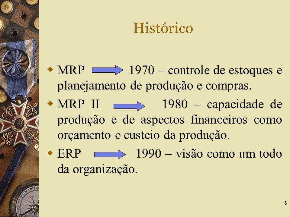5 Histórico  MRP 1970 – controle de estoques e planejamento de produção e compras.  MRP II 1980 – capacidade de produção e de aspectos financeiros c