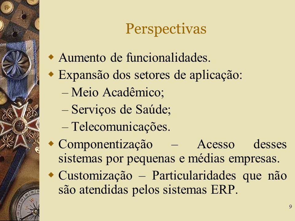 9 Perspectivas  Aumento de funcionalidades.  Expansão dos setores de aplicação: – Meio Acadêmico; – Serviços de Saúde; – Telecomunicações.  Compone