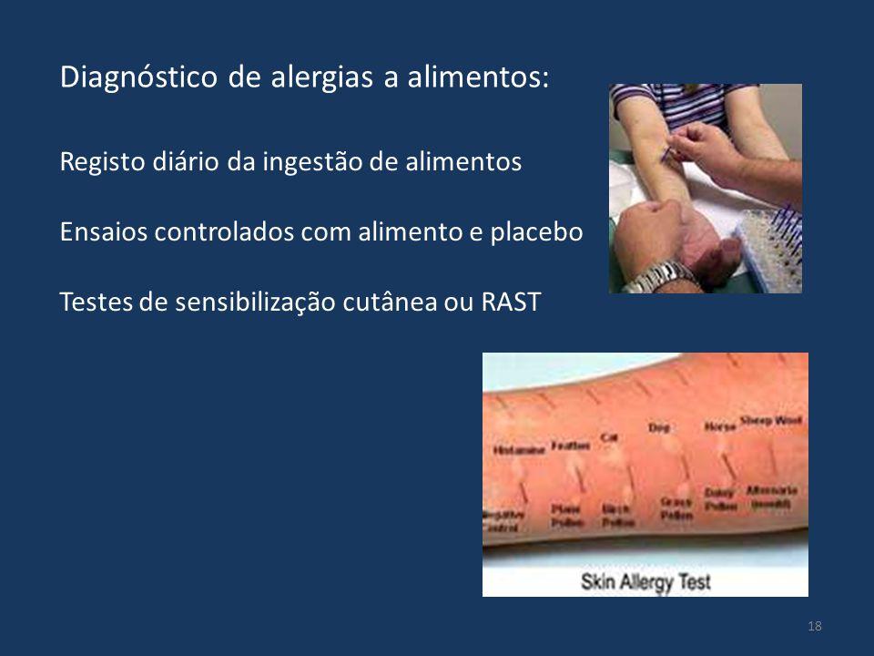 18 Registo diário da ingestão de alimentos Ensaios controlados com alimento e placebo Testes de sensibilização cutânea ou RAST Diagnóstico de alergias a alimentos: