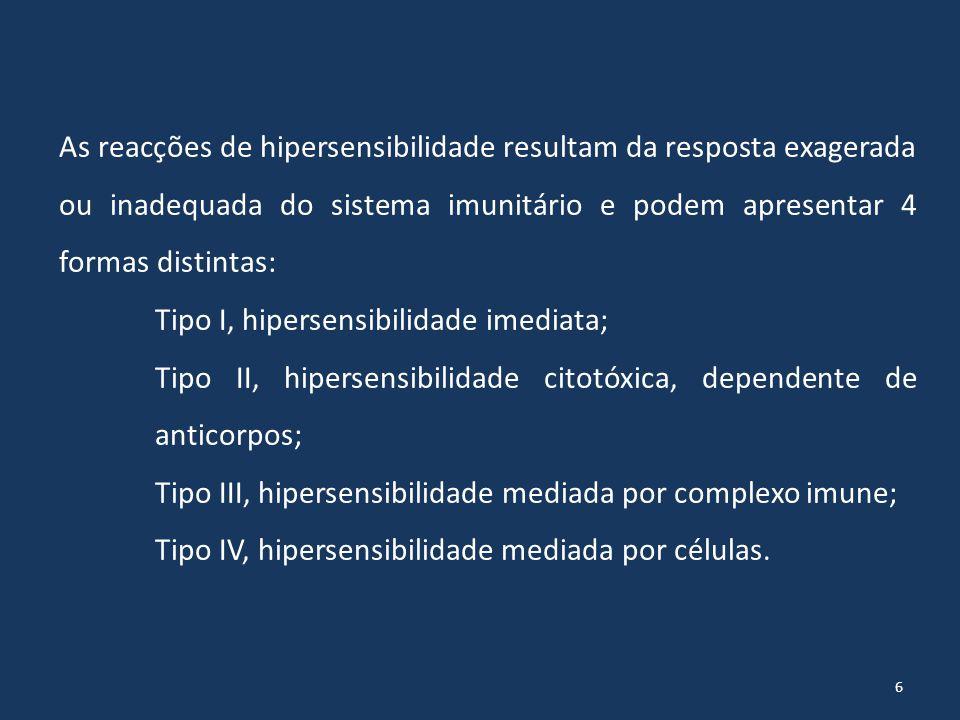As reacções de hipersensibilidade resultam da resposta exagerada ou inadequada do sistema imunitário e podem apresentar 4 formas distintas: Tipo I, hipersensibilidade imediata; Tipo II, hipersensibilidade citotóxica, dependente de anticorpos; Tipo III, hipersensibilidade mediada por complexo imune; Tipo IV, hipersensibilidade mediada por células.