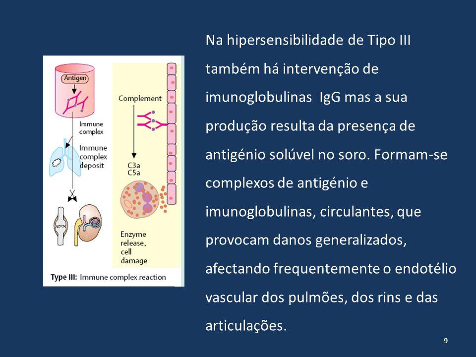 Na hipersensibilidade de Tipo III também há intervenção de imunoglobulinas IgG mas a sua produção resulta da presença de antigénio solúvel no soro.