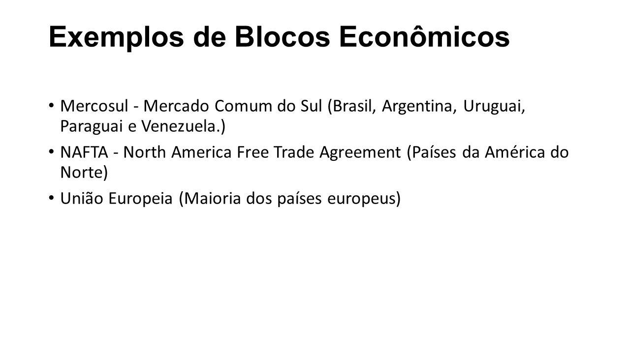Exemplos de Blocos Econômicos Mercosul - Mercado Comum do Sul (Brasil, Argentina, Uruguai, Paraguai e Venezuela.) NAFTA - North America Free Trade Agreement (Países da América do Norte) União Europeia (Maioria dos países europeus)
