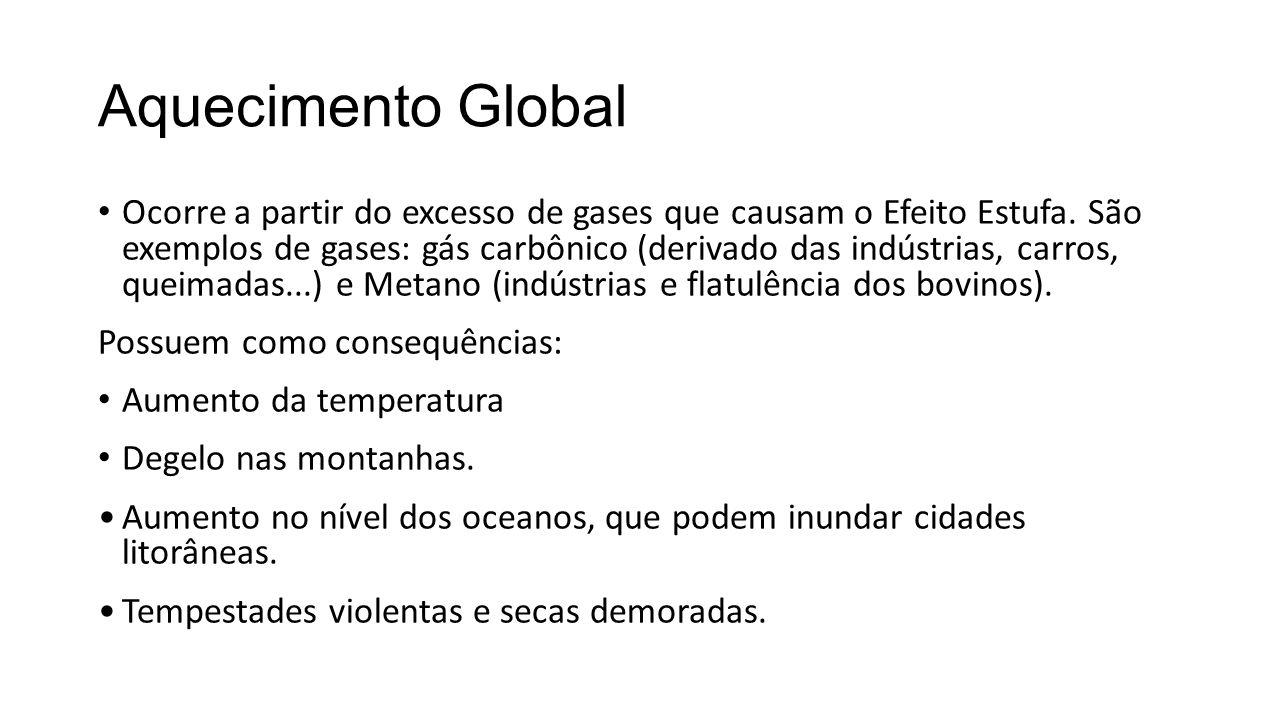 Aquecimento Global Ocorre a partir do excesso de gases que causam o Efeito Estufa.