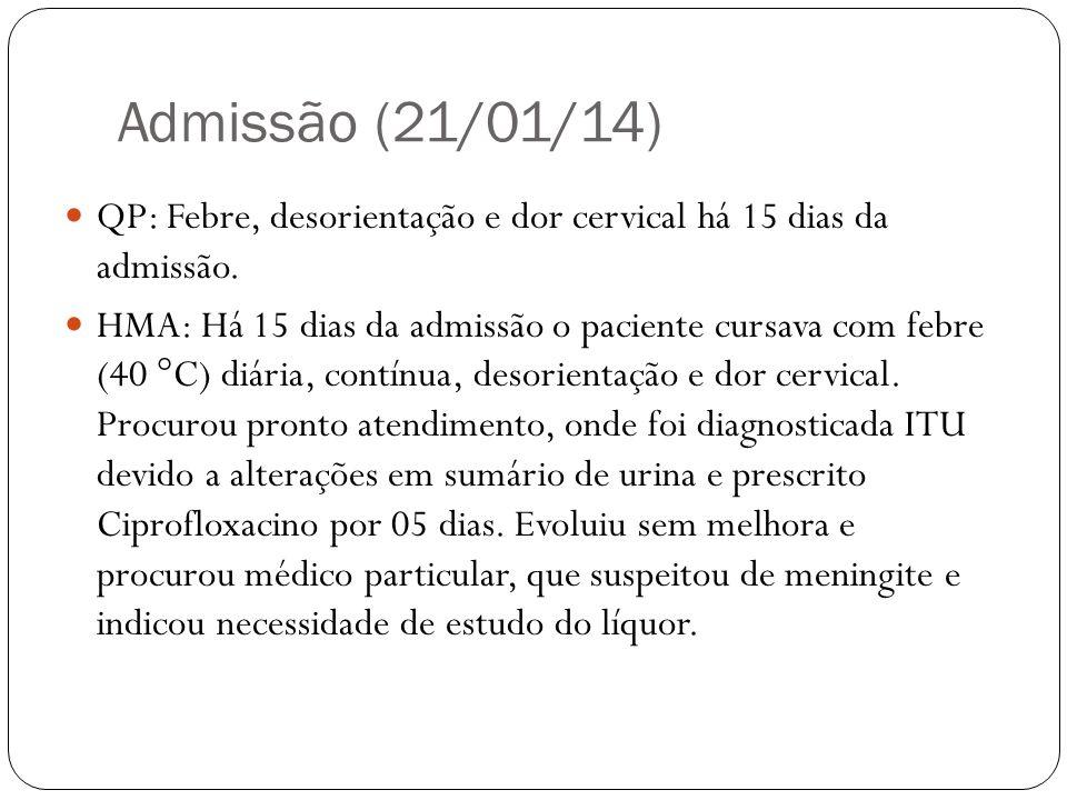 Admissão (21/01/14) Paciente se dirigiu ao 5º Centro, onde foi admitido, mas negada a necessidade de tal exame.