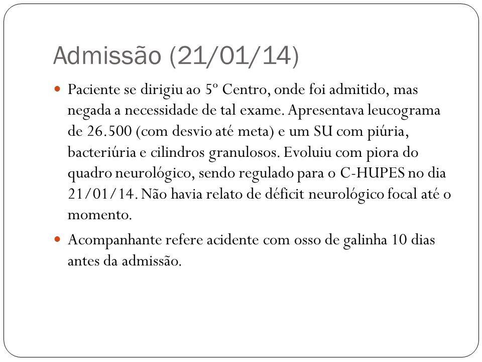 Admissão (21/01/14) Interrogatório Sistemático: Geral: nega perda ponderal.