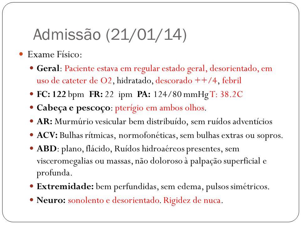 Admissão (21/01/14) SD: Meningoencefalite.CD: Colhidos líquor e culturas.