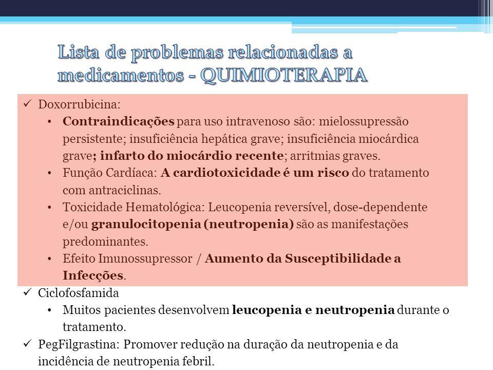 Doxorrubicina: Contraindicações para uso intravenoso são: mielossupressão persistente; insuficiência hepática grave; insuficiência miocárdica grave; i