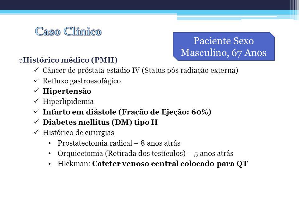 o Histórico médico (PMH) Câncer de próstata estadio IV (Status pós radiação externa) Refluxo gastroesofágico Hipertensão Hiperlipidemia Infarto em diá