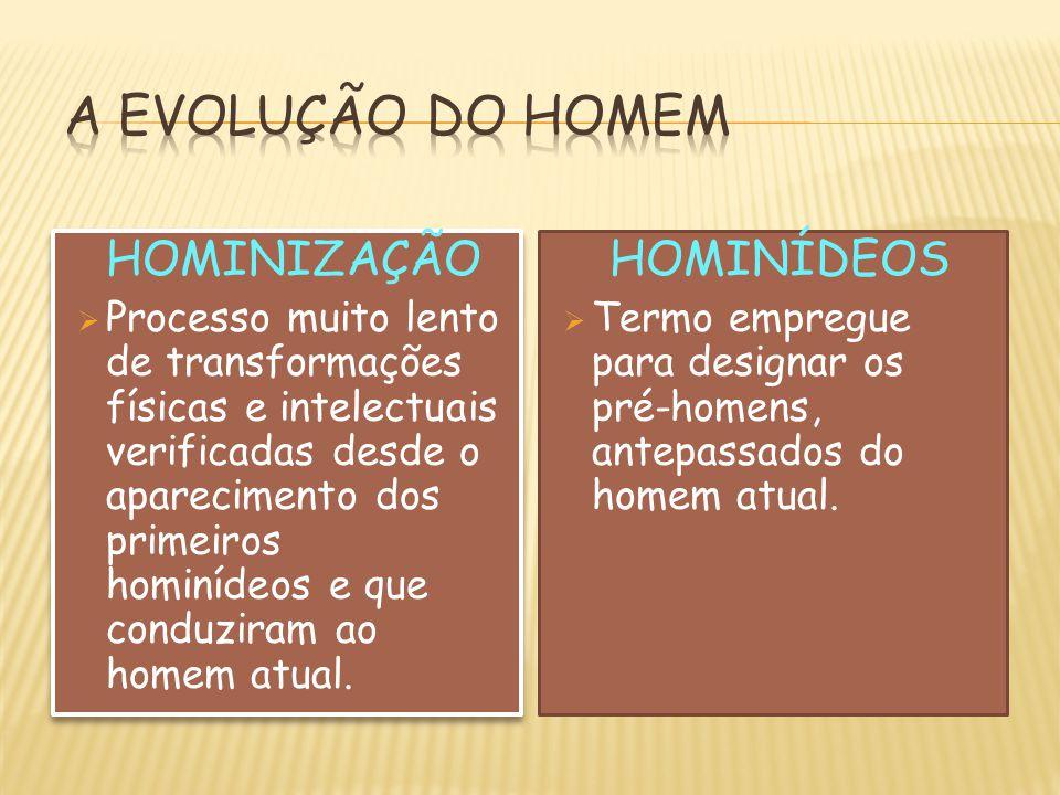 HOMINIZAÇÃO  Processo muito lento de transformações físicas e intelectuais verificadas desde o aparecimento dos primeiros hominídeos e que conduziram
