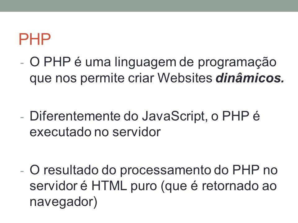 PHP - O PHP é uma linguagem de programação que nos permite criar Websites dinâmicos.