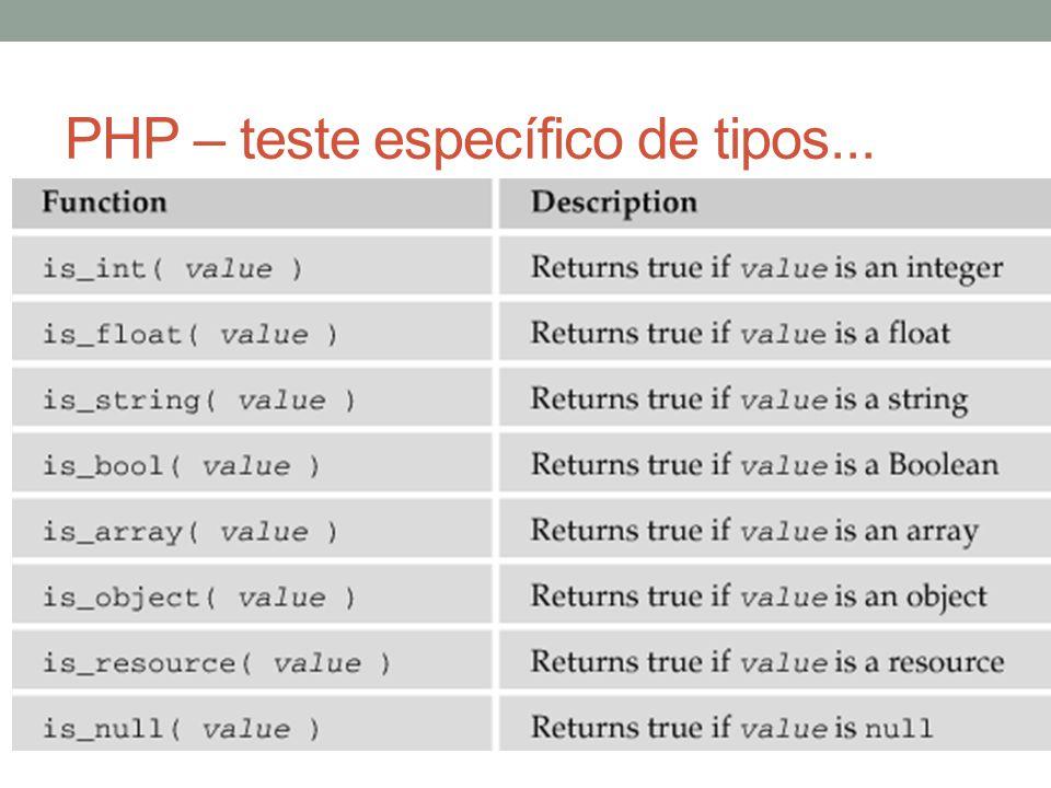 PHP – teste específico de tipos...