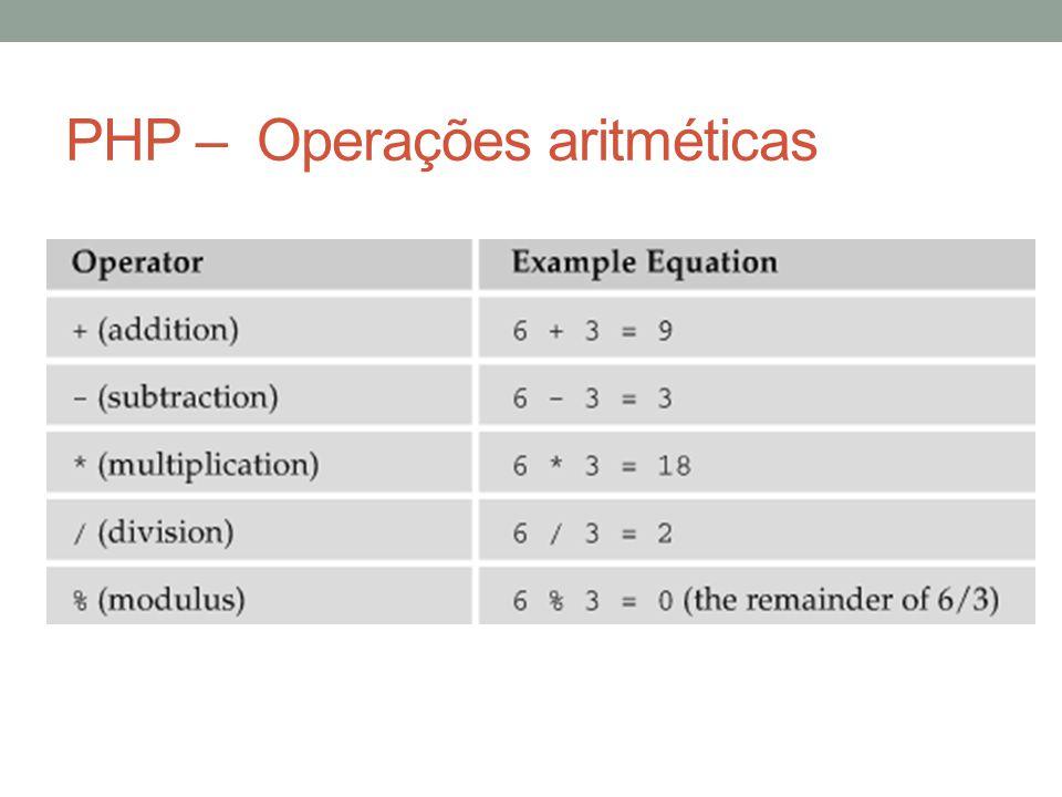 PHP – Operações aritméticas