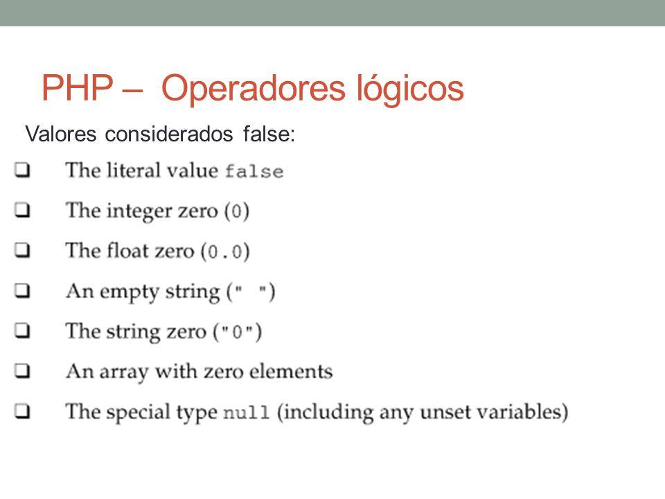 PHP – Operadores lógicos Valores considerados false: