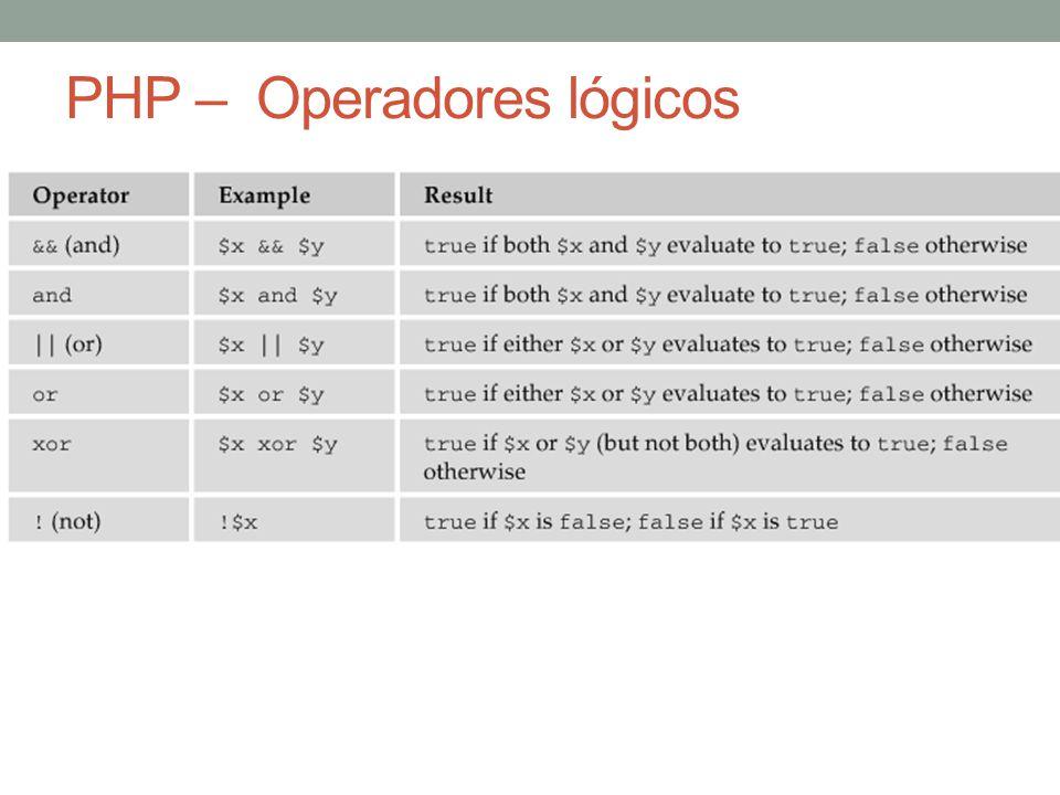 PHP – Operadores lógicos