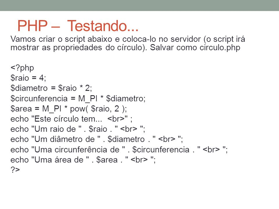 PHP – Testando...
