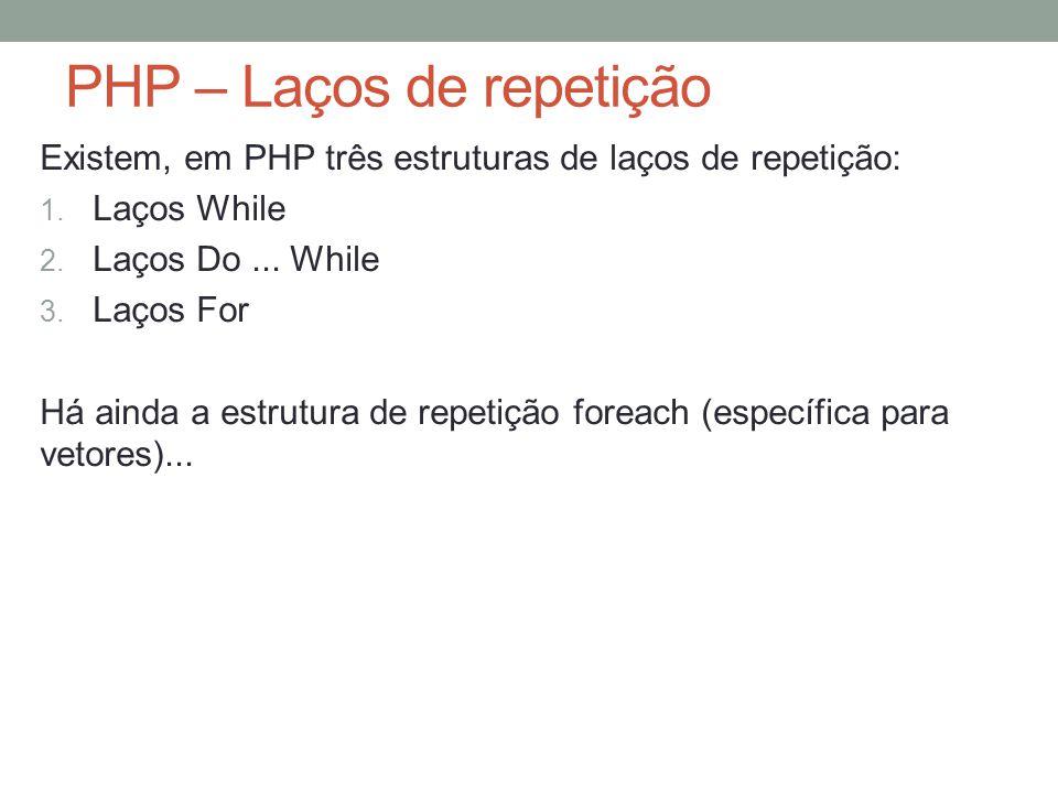 PHP – Laços de repetição Existem, em PHP três estruturas de laços de repetição: 1.