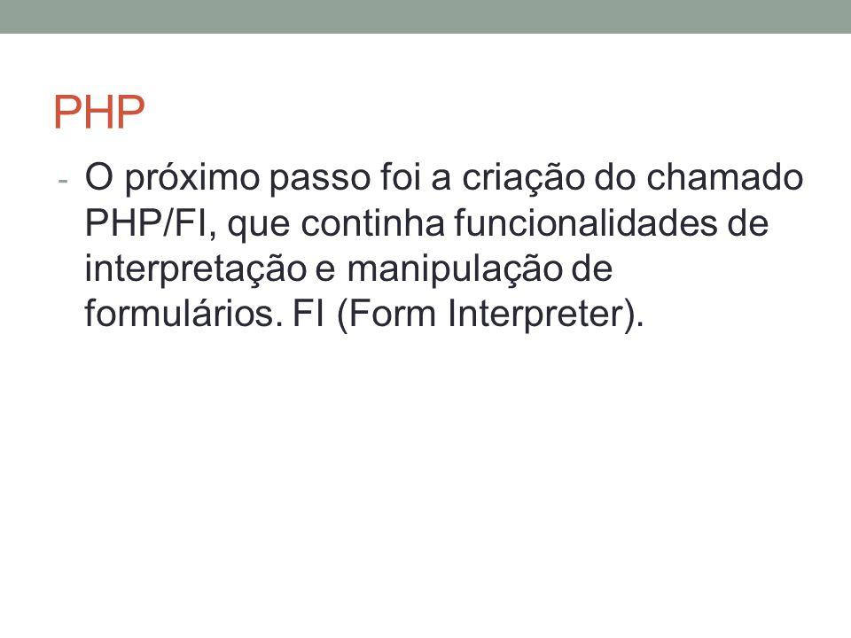 PHP - O próximo passo foi a criação do chamado PHP/FI, que continha funcionalidades de interpretação e manipulação de formulários.