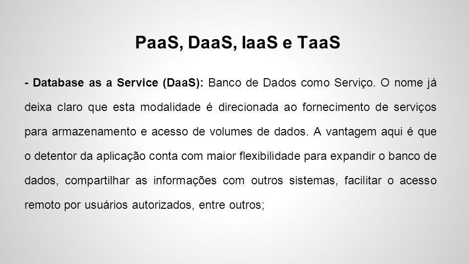 PaaS, DaaS, IaaS e TaaS - Database as a Service (DaaS): Banco de Dados como Serviço. O nome já deixa claro que esta modalidade é direcionada ao fornec