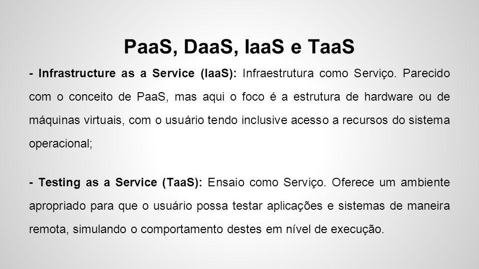 PaaS, DaaS, IaaS e TaaS - Infrastructure as a Service (IaaS): Infraestrutura como Serviço. Parecido com o conceito de PaaS, mas aqui o foco é a estrut