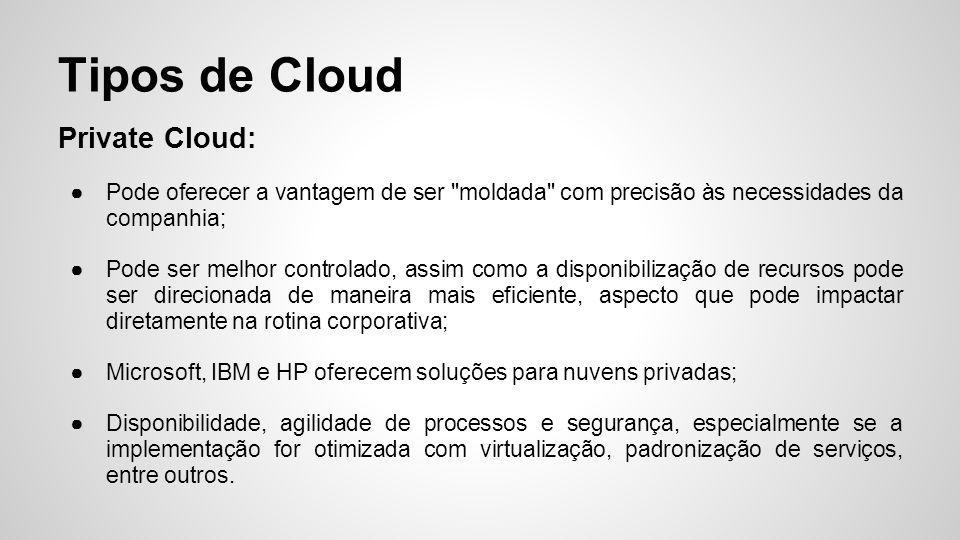 Private Cloud: ●Pode oferecer a vantagem de ser