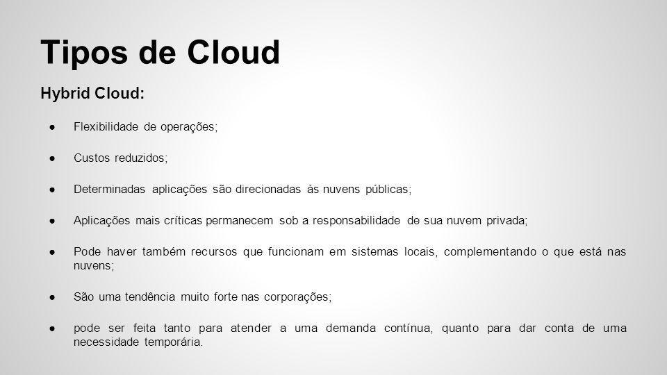Hybrid Cloud: ●Flexibilidade de operações; ●Custos reduzidos; ●Determinadas aplicações são direcionadas às nuvens públicas; ●Aplicações mais críticas