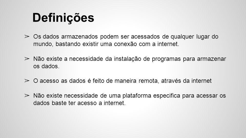 ➢ Os dados armazenados podem ser acessados de qualquer lugar do mundo, bastando existir uma conexão com a internet. ➢ Não existe a necessidade da inst