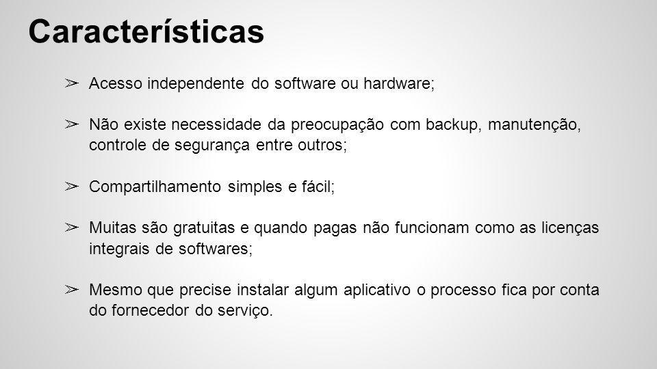 ➢ Acesso independente do software ou hardware; ➢ Não existe necessidade da preocupação com backup, manutenção, controle de segurança entre outros; ➢ C