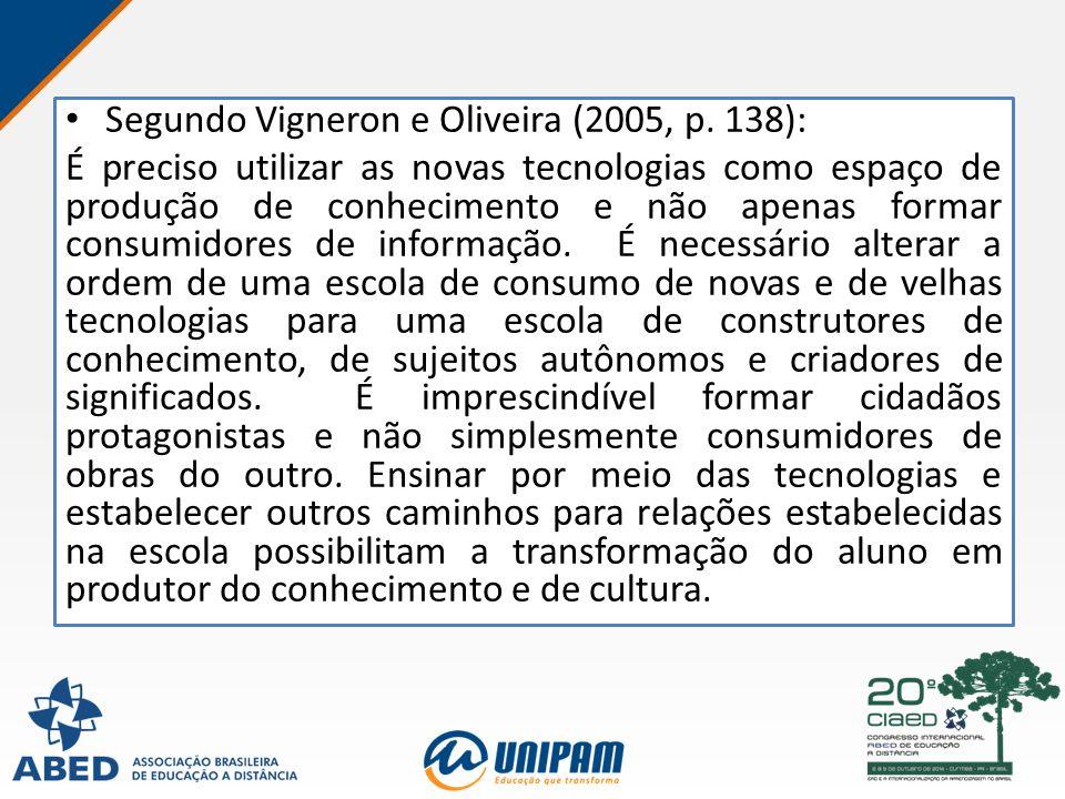 Segundo Vigneron e Oliveira (2005, p. 138): É preciso utilizar as novas tecnologias como espaço de produção de conhecimento e não apenas formar consum