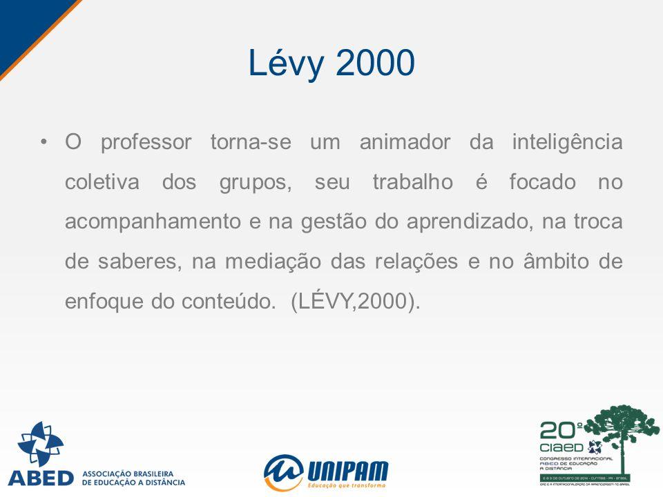 Lévy 2000 O professor torna-se um animador da inteligência coletiva dos grupos, seu trabalho é focado no acompanhamento e na gestão do aprendizado, na