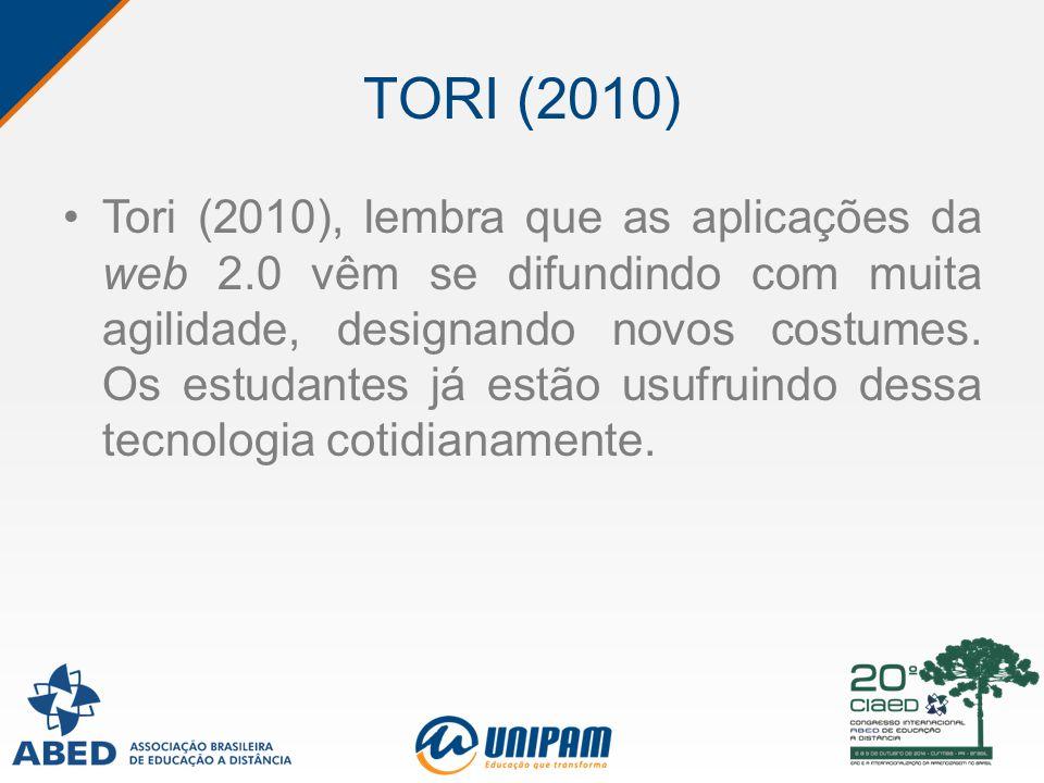 TORI (2010) Tori (2010), lembra que as aplicações da web 2.0 vêm se difundindo com muita agilidade, designando novos costumes. Os estudantes já estão