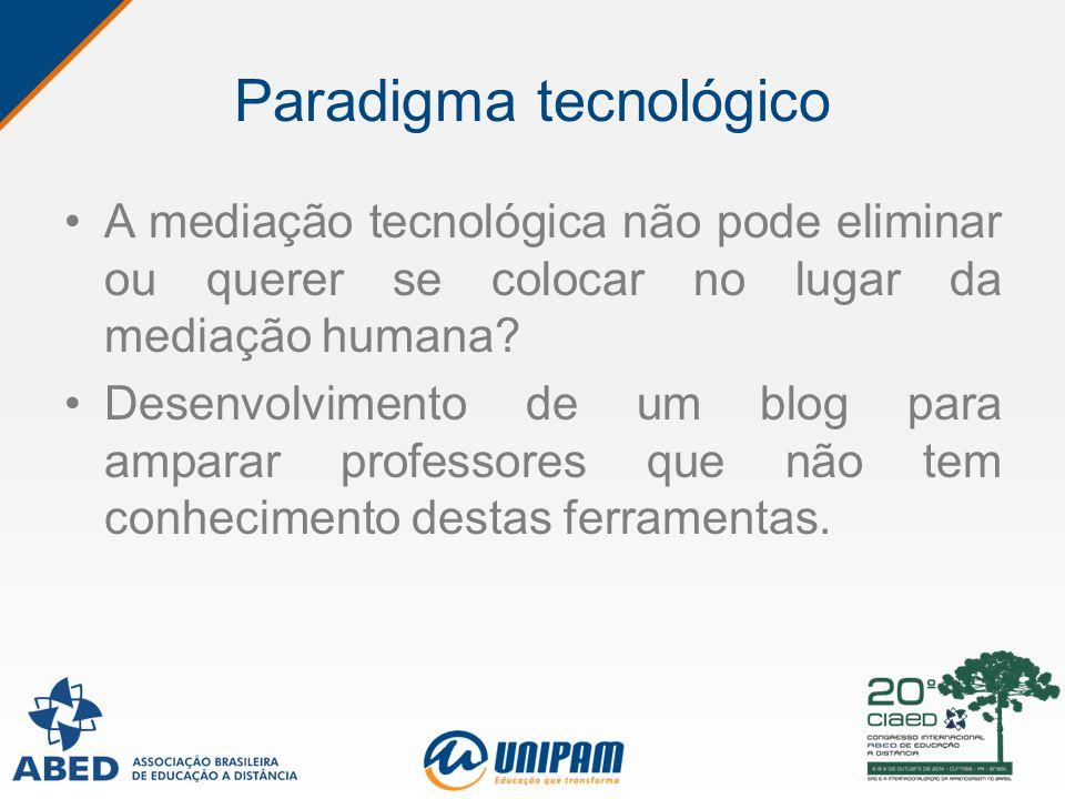 Paradigma tecnológico A mediação tecnológica não pode eliminar ou querer se colocar no lugar da mediação humana? Desenvolvimento de um blog para ampar