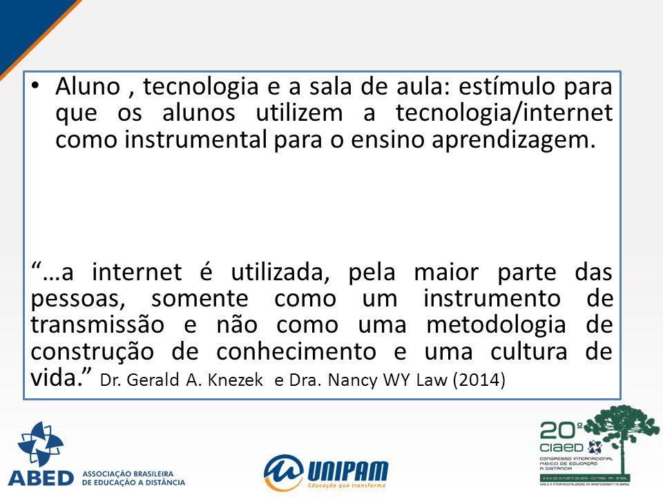 """Aluno, tecnologia e a sala de aula: estímulo para que os alunos utilizem a tecnologia/internet como instrumental para o ensino aprendizagem. """"…a inter"""