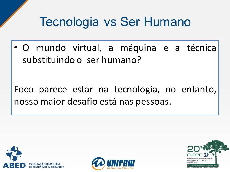 Tecnologia vs Ser Humano O mundo virtual, a máquina e a técnica substituindo o ser humano? Foco parece estar na tecnologia, no entanto, nosso maior de