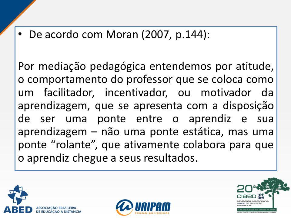 De acordo com Moran (2007, p.144): Por mediação pedagógica entendemos por atitude, o comportamento do professor que se coloca como um facilitador, inc