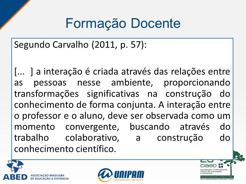 Formação Docente Segundo Carvalho (2011, p. 57): [... ] a interação é criada através das relações entre as pessoas nesse ambiente, proporcionando tran