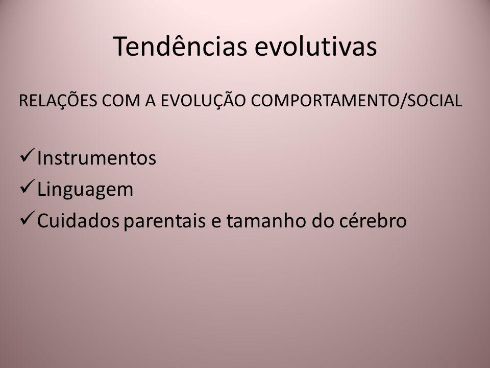 Tendências evolutivas RELAÇÕES COM A EVOLUÇÃO COMPORTAMENTO/SOCIAL Instrumentos Linguagem Cuidados parentais e tamanho do cérebro