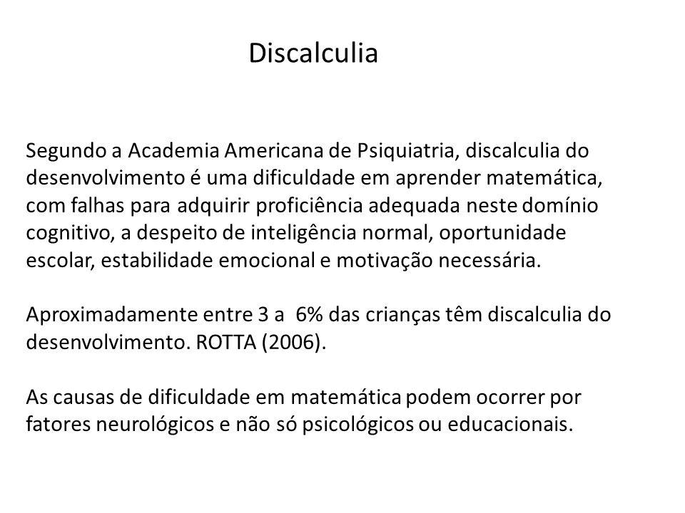 Discalculia Segundo a Academia Americana de Psiquiatria, discalculia do desenvolvimento é uma dificuldade em aprender matemática, com falhas para adqu