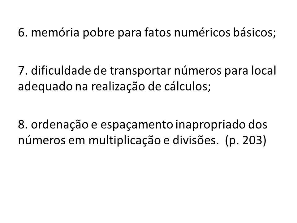 6. memória pobre para fatos numéricos básicos; 7. dificuldade de transportar números para local adequado na realização de cálculos; 8. ordenação e esp
