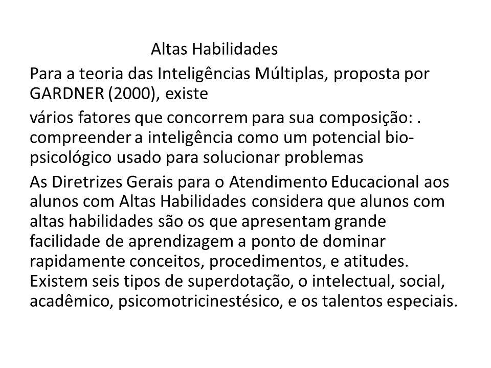 Altas Habilidades Para a teoria das Inteligências Múltiplas, proposta por GARDNER (2000), existe vários fatores que concorrem para sua composição:. co
