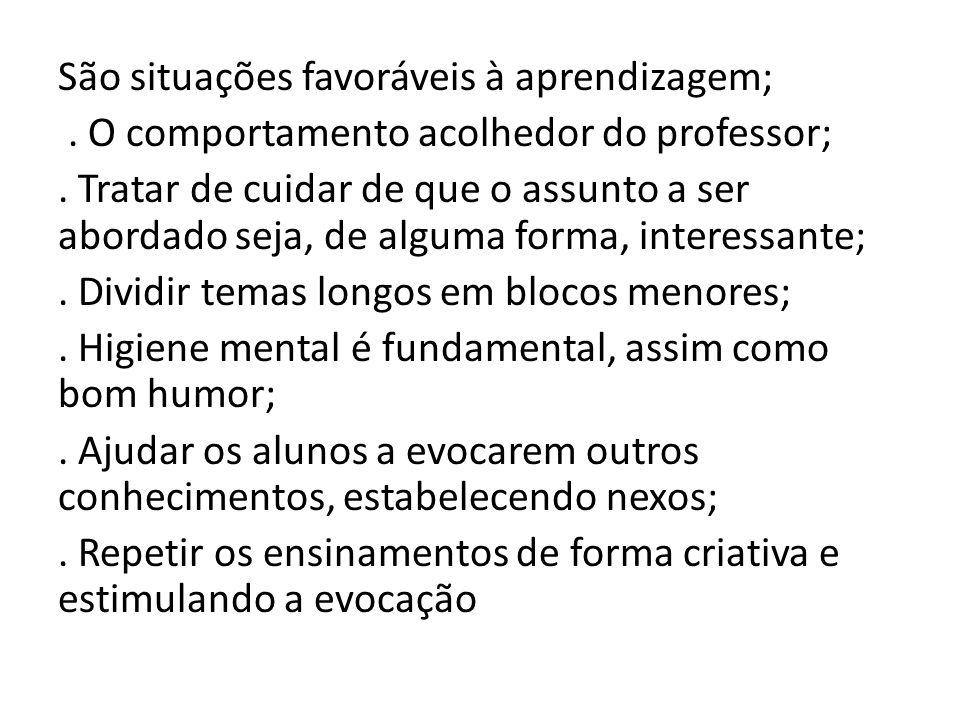 São situações favoráveis à aprendizagem;.O comportamento acolhedor do professor;.
