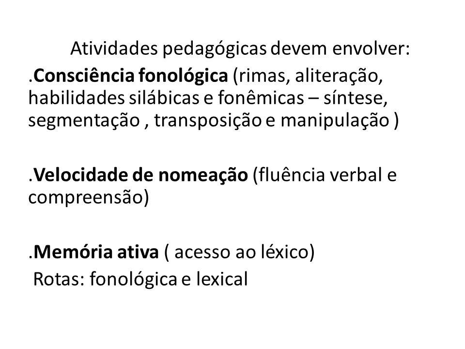 Atividades pedagógicas devem envolver:.Consciência fonológica (rimas, aliteração, habilidades silábicas e fonêmicas – síntese, segmentação, transposição e manipulação ).Velocidade de nomeação (fluência verbal e compreensão).Memória ativa ( acesso ao léxico) Rotas: fonológica e lexical
