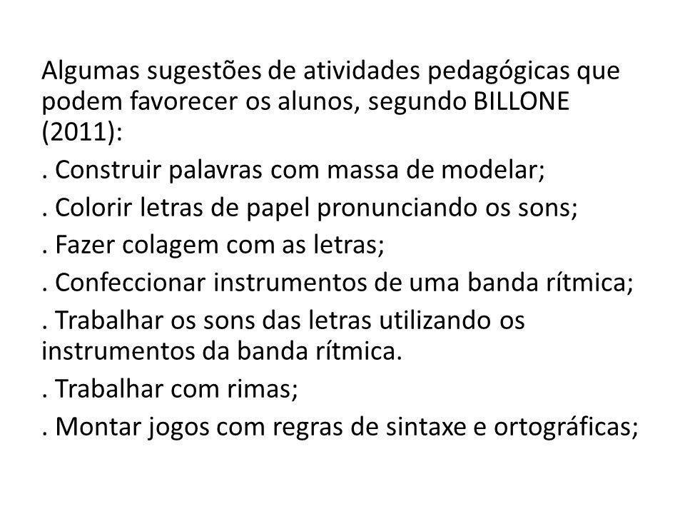 Algumas sugestões de atividades pedagógicas que podem favorecer os alunos, segundo BILLONE (2011):. Construir palavras com massa de modelar;. Colorir