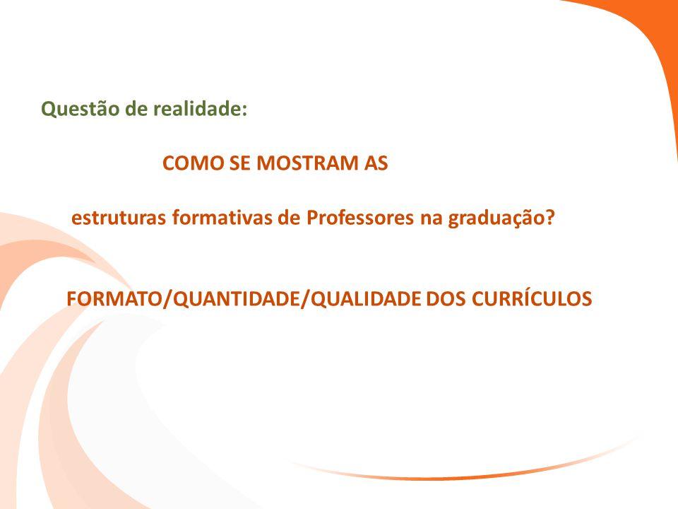 Questão de realidade: COMO SE MOSTRAM AS estruturas formativas de Professores na graduação? FORMATO/QUANTIDADE/QUALIDADE DOS CURRÍCULOS