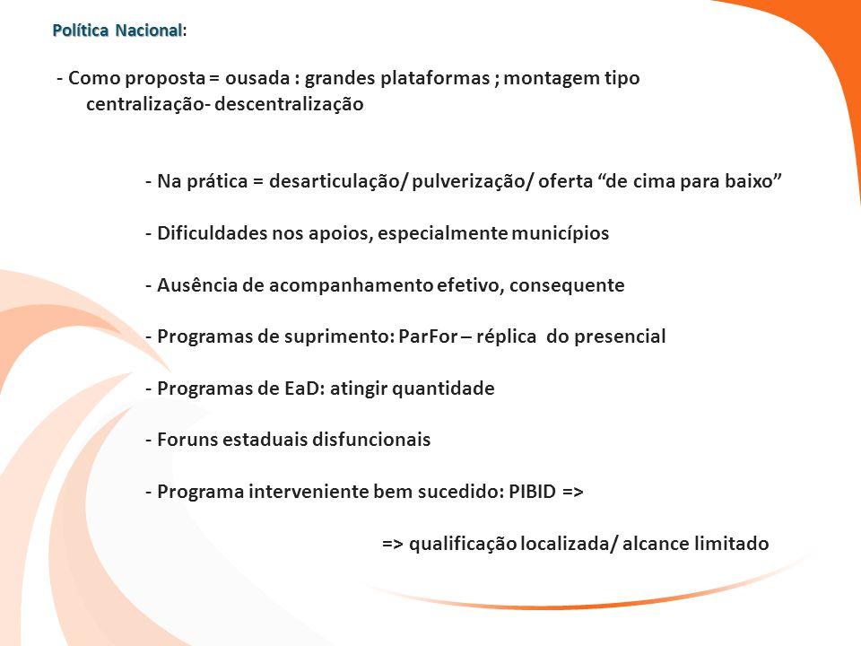 Política Nacional Política Nacional: - Como proposta = ousada : grandes plataformas ; montagem tipo centralização- descentralização - Na prática = des