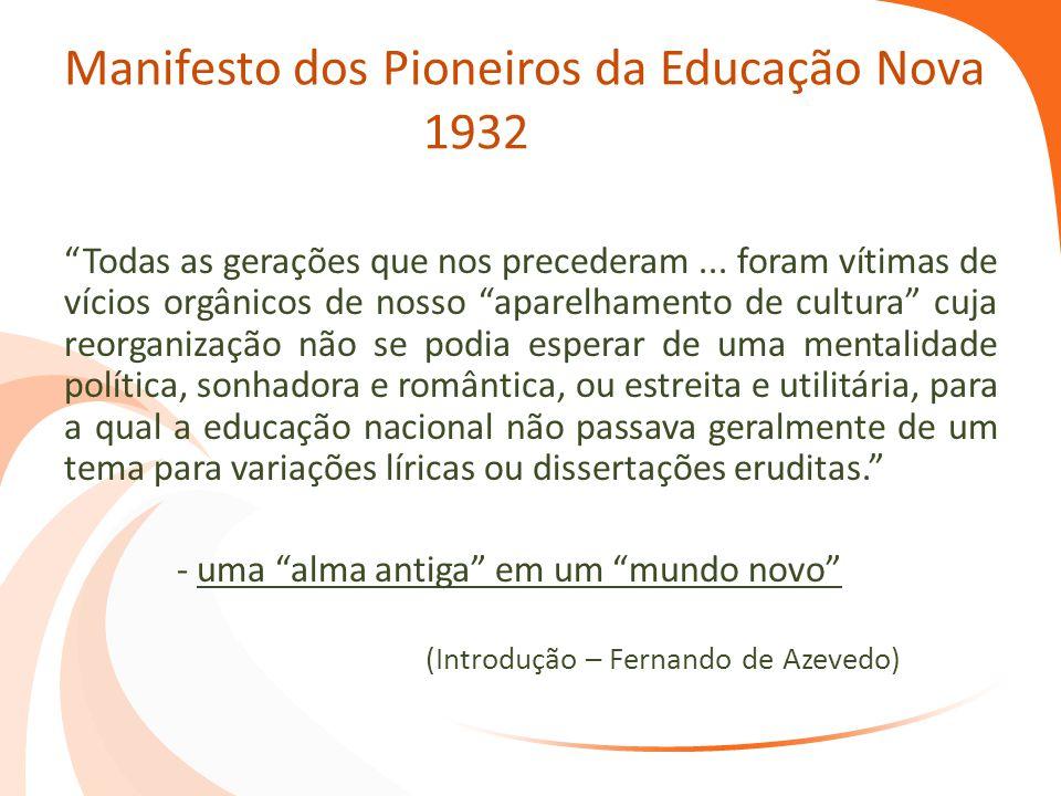 """Manifesto dos Pioneiros da Educação Nova 1932 """"Todas as gerações que nos precederam... foram vítimas de vícios orgânicos de nosso """"aparelhamento de cu"""