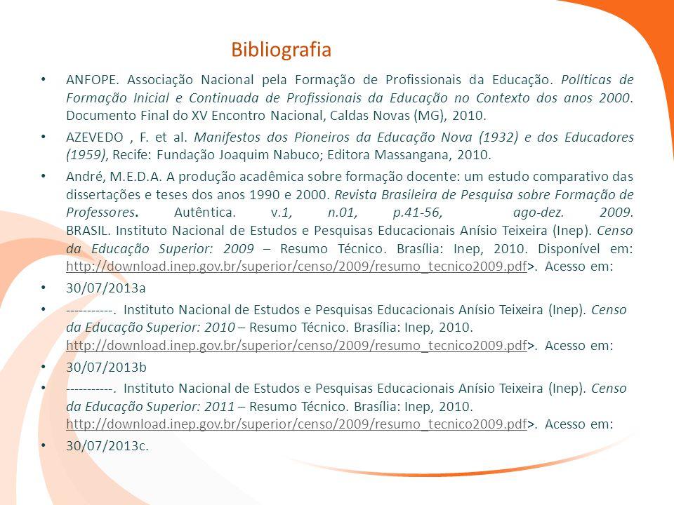 Bibliografia ANFOPE. Associação Nacional pela Formação de Profissionais da Educação. Políticas de Formação Inicial e Continuada de Profissionais da Ed